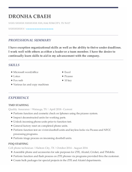 Quality Assurance resume template Texas