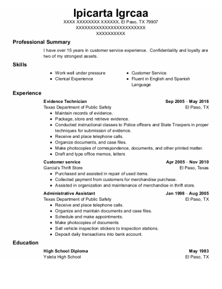 customer service resume template Texas