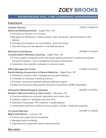 Campus Director resume example Texas