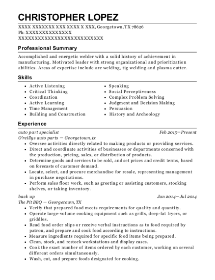 auto part specialist resume sample Texas