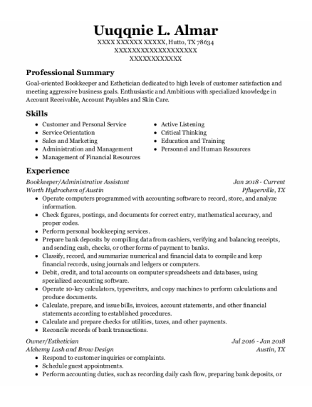 Bookkeeper resume format Texas