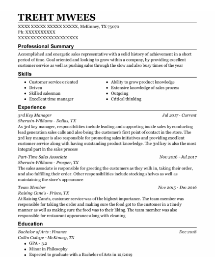3Rd Key Manager resume example Texas