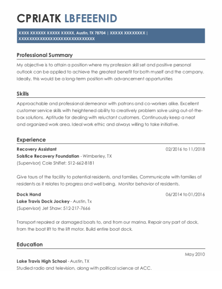 Dock Hand resume template Texas