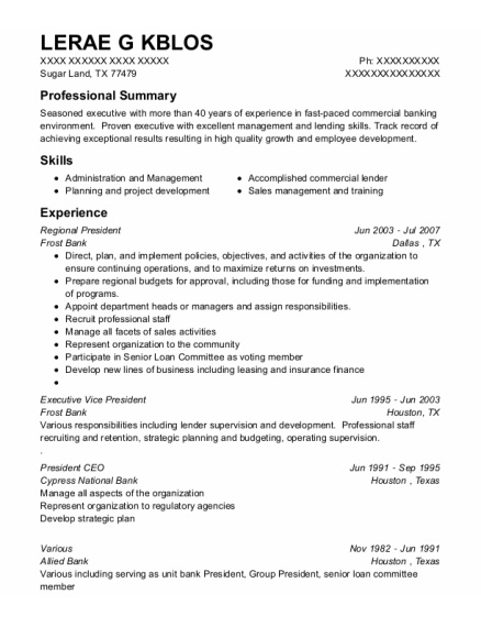 Various resume template Texas