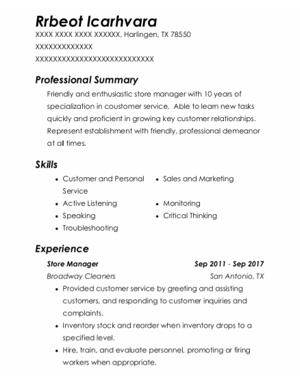 Store Manager resume template Texas