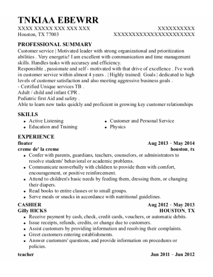 floater resume sample Texas