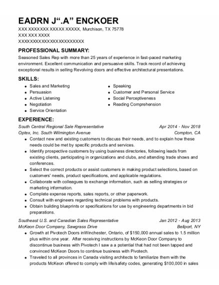Sales Representative resume template Texas