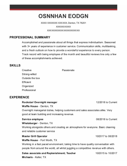 Food Service Employee resume format Texas