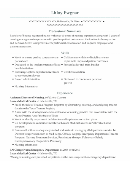 Assistant Director Of Nursing resume template Texas