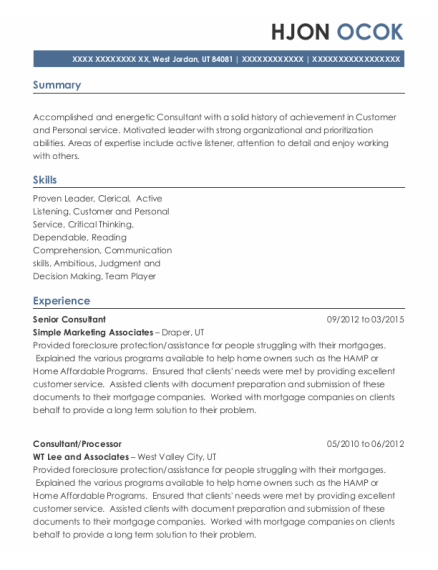 Senior Consultant resume example Utah