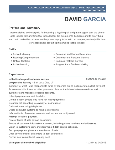 collections agent resume example Utah