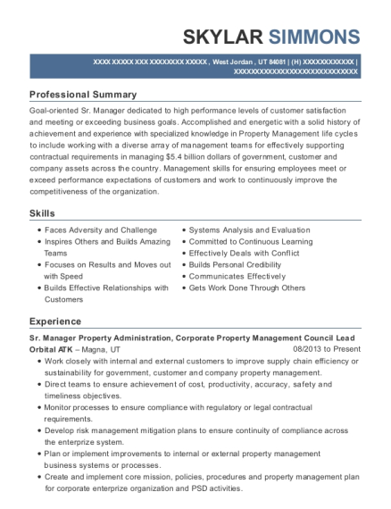 Sr Manager Property Administration resume format Utah