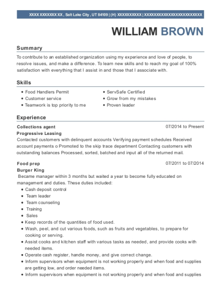 Collections agent resume sample Utah