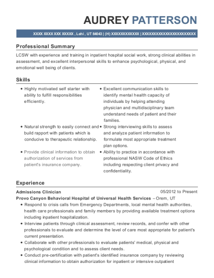Admissions Clinician resume template Utah