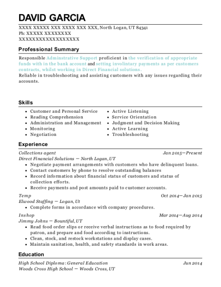 Collections agent resume template Utah