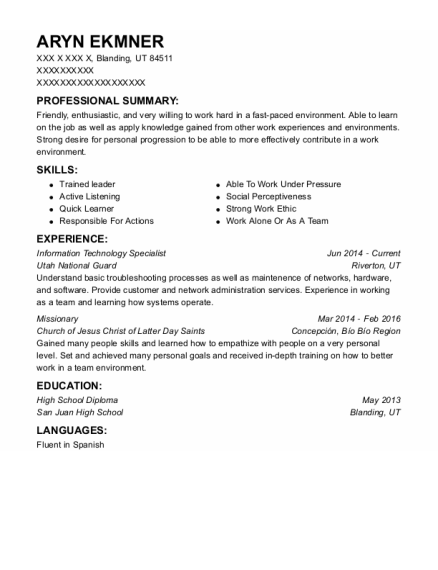 Information Technology Specialist resume sample Utah