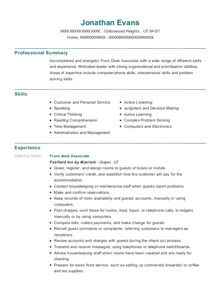 Front Desk Associate resume sample Utah