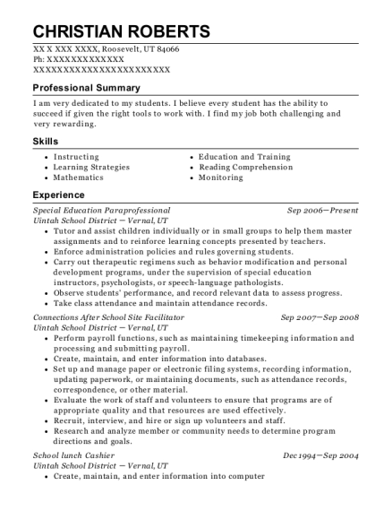 Special Education Paraprofessional resume sample Utah