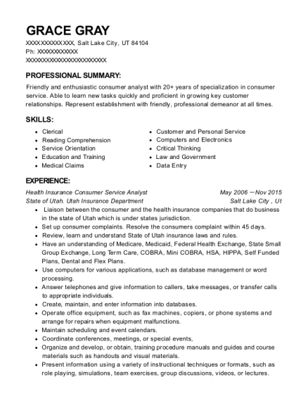 Health Insurance Consumer Service Analyst resume template Utah