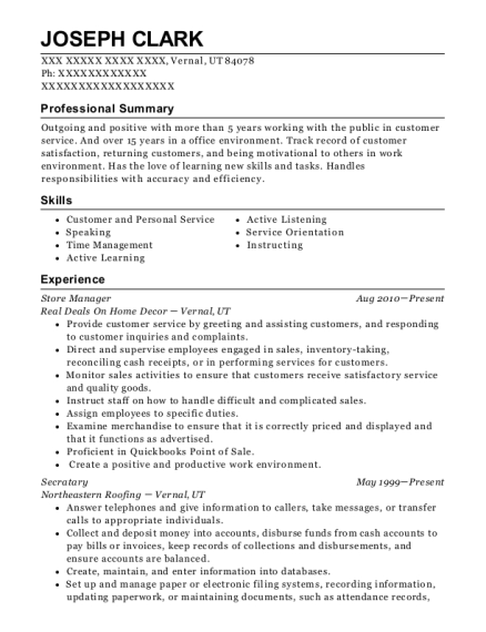 Store Manager resume sample Utah