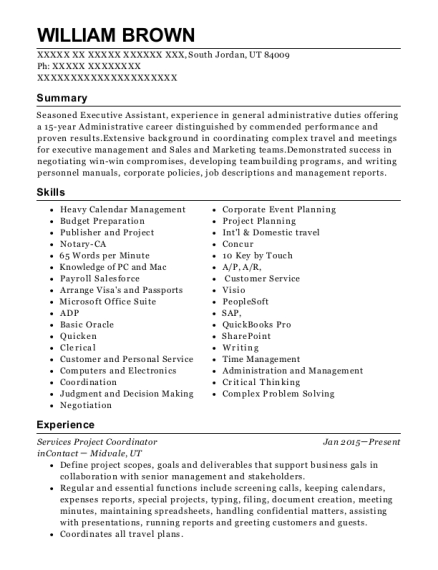 Services Project Coordinator resume example Utah
