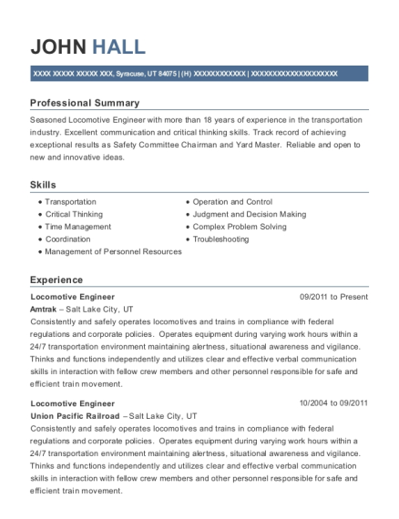 Locomotive Engineer resume template Utah