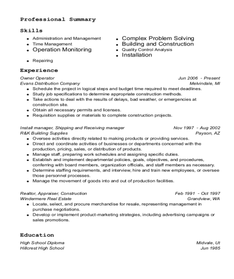 Owner Operator resume example Utah