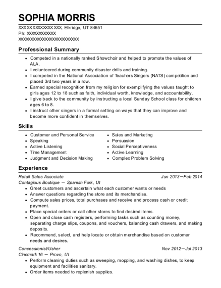 Retail Sales Associate resume template Utah