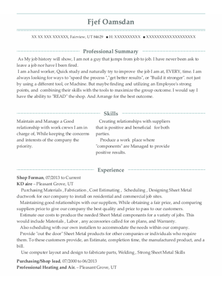 Shop Forman resume format Utah