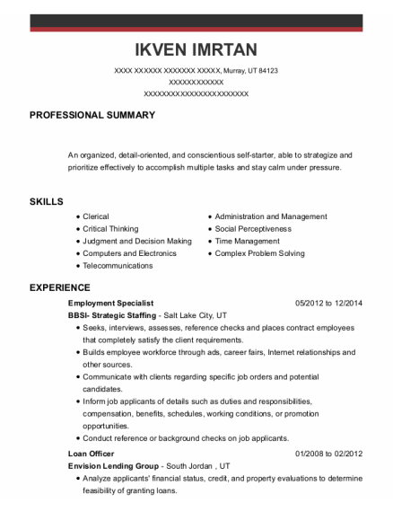 Employment Specialist resume example Utah