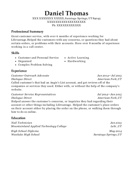 Customer Outreach Advocate resume example Utah