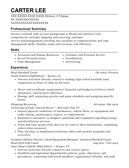 Head Baseball Coach resume sample Utah