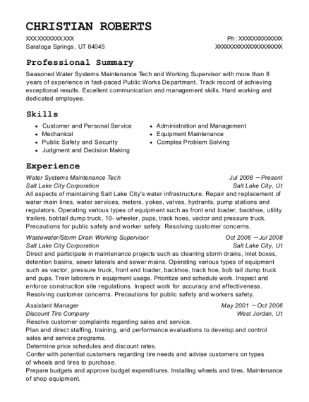 Water Systems Maintenance Tech resume example Utah