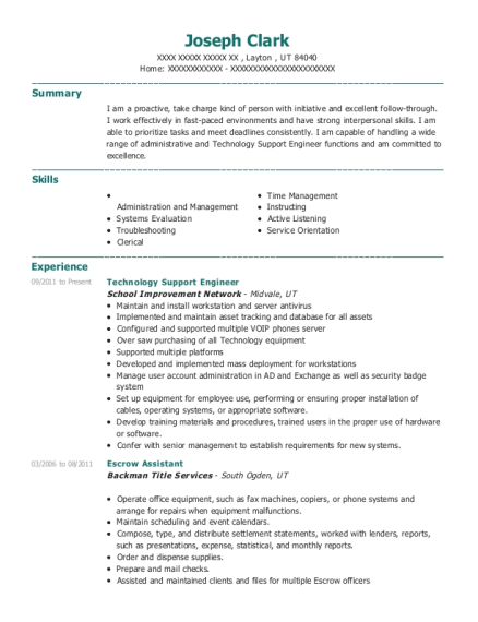 Technology Support Engineer resume example Utah