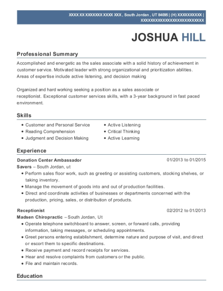 Donation Center Ambassador resume template Utah