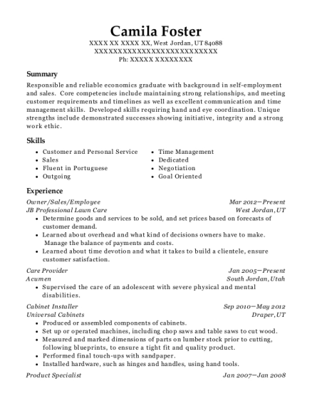 Owner resume example Utah