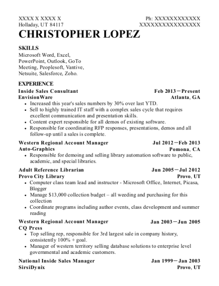 Inside Sales Consultant resume sample Utah