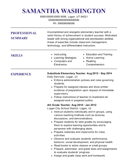 Substitute Elementary Teacher resume template Utah