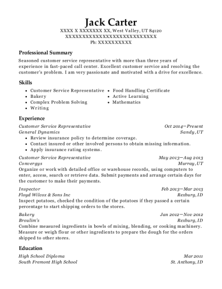 Customer Service Representative resume example Utah