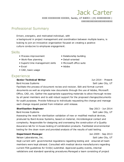Senior Technical Writer resume sample Utah