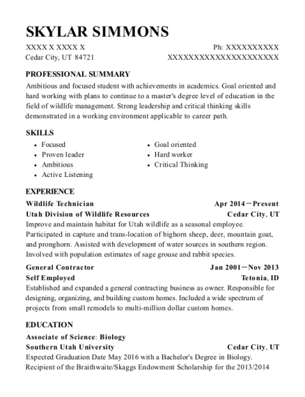 Wildlife Technician resume sample Utah