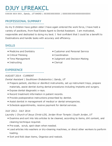Dental Assistant resume sample Utah