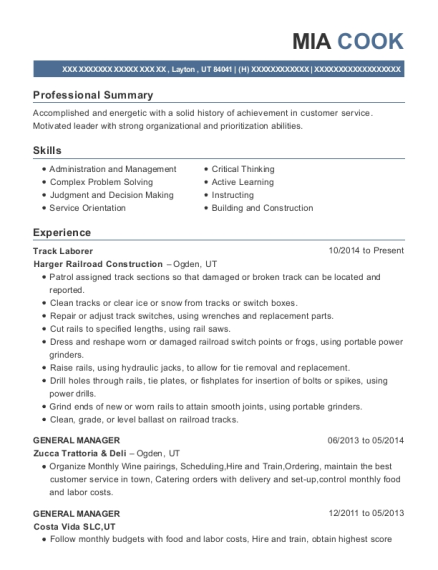 Track Laborer resume sample Utah