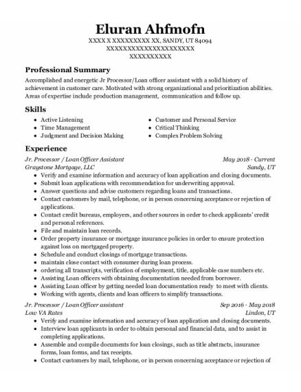 Loan Officer Assistant resume format Utah