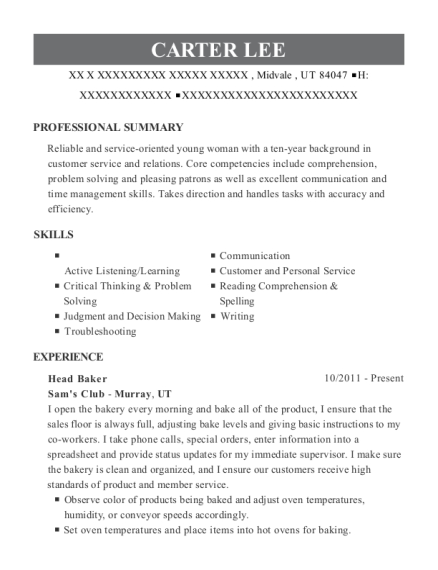 Head Baker resume sample Utah