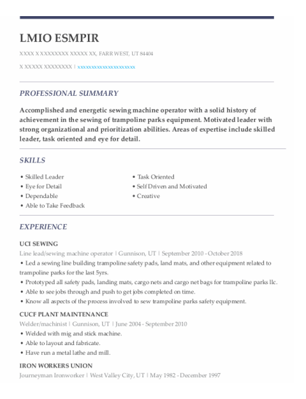 Line Lead resume example Utah