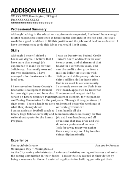 Zoning Administrator resume sample Utah