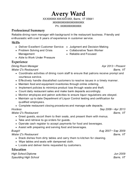 Dining Room Manager resume example Vermont