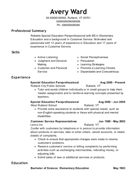 Special Education Paraprofessional resume template Vermont