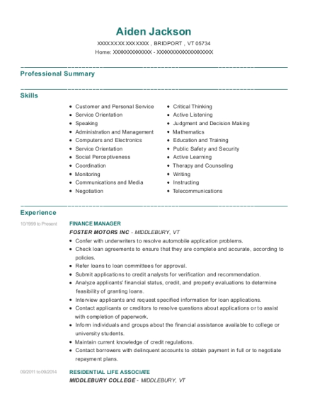 Finance Manager resume example Vermont